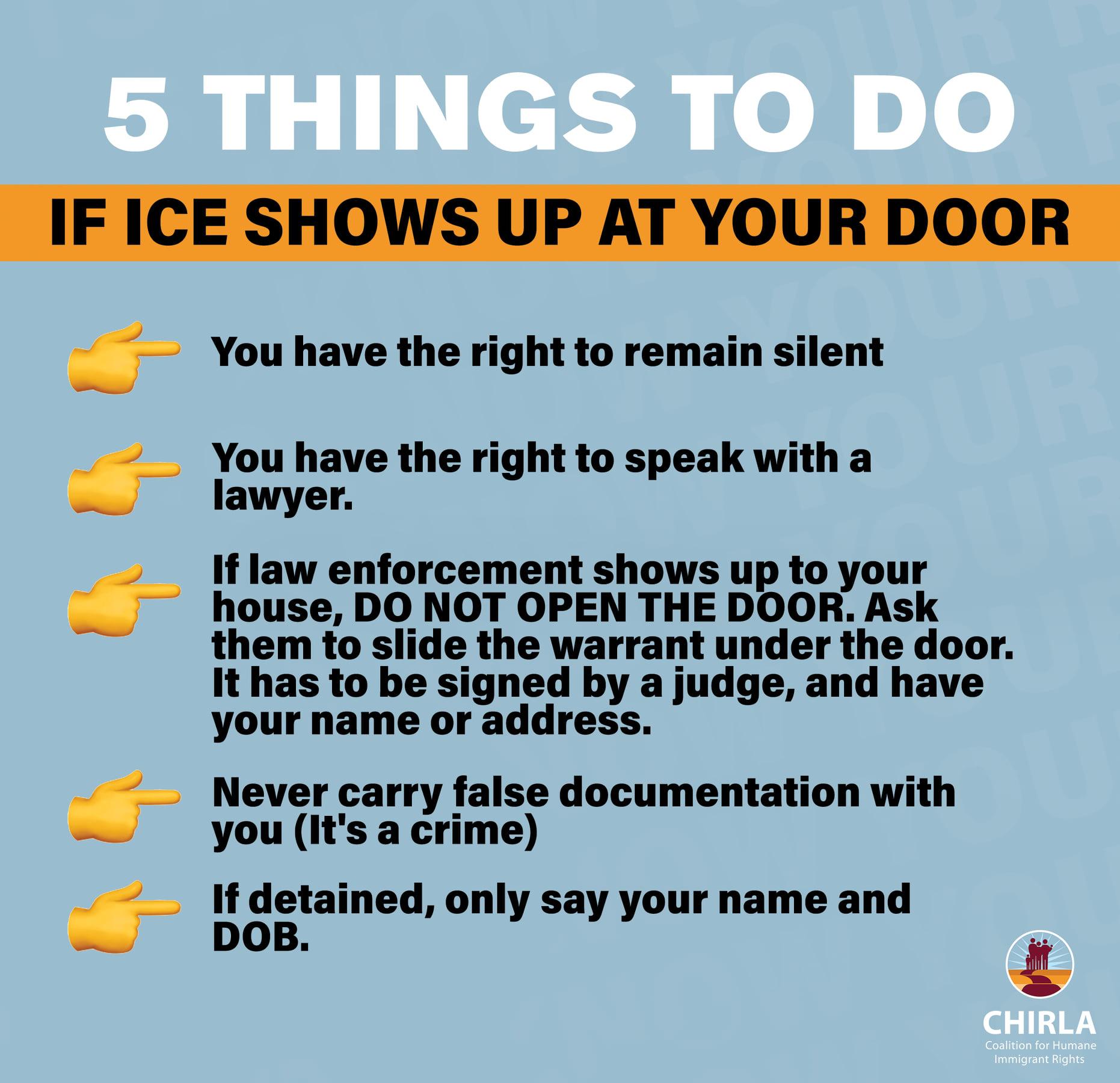 5 cosas que debe hacer si ICE aparece en su puerta
